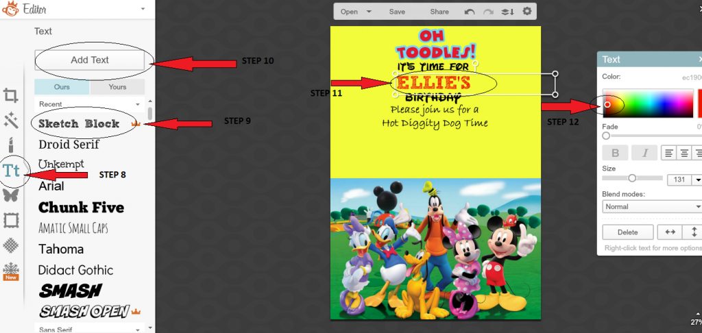 How to make a Mickey mouse digital invitation with Picmonkey 3