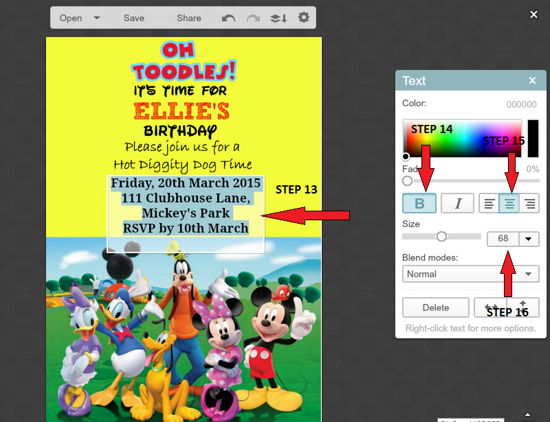How to make a Mickey mouse digital invitation with Picmonkey 4