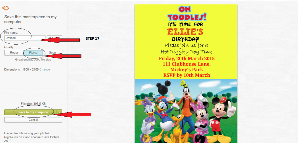 How to make a Mickey mouse digital invitation with Picmonkey 5