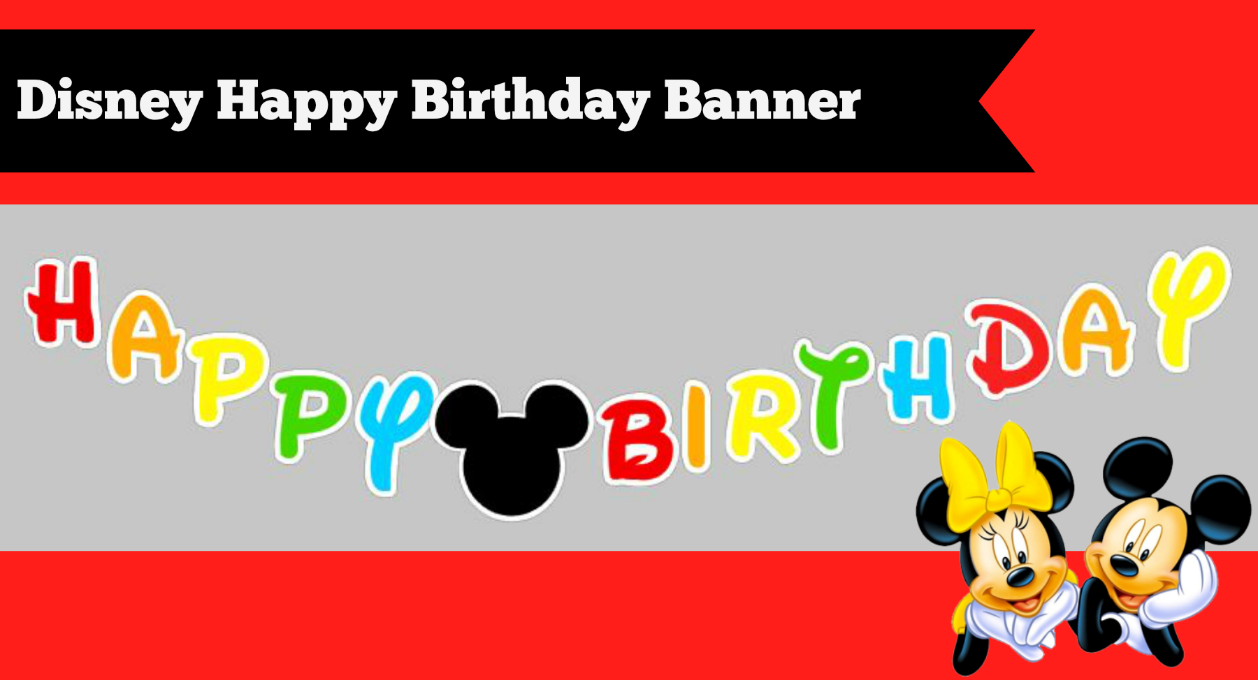 DIY Disney Mickey Mouse Happy Birthday Banner