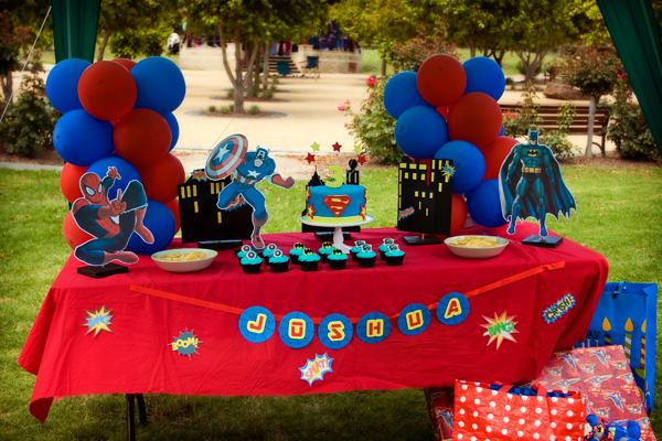 Superhero Birthday Party Setup