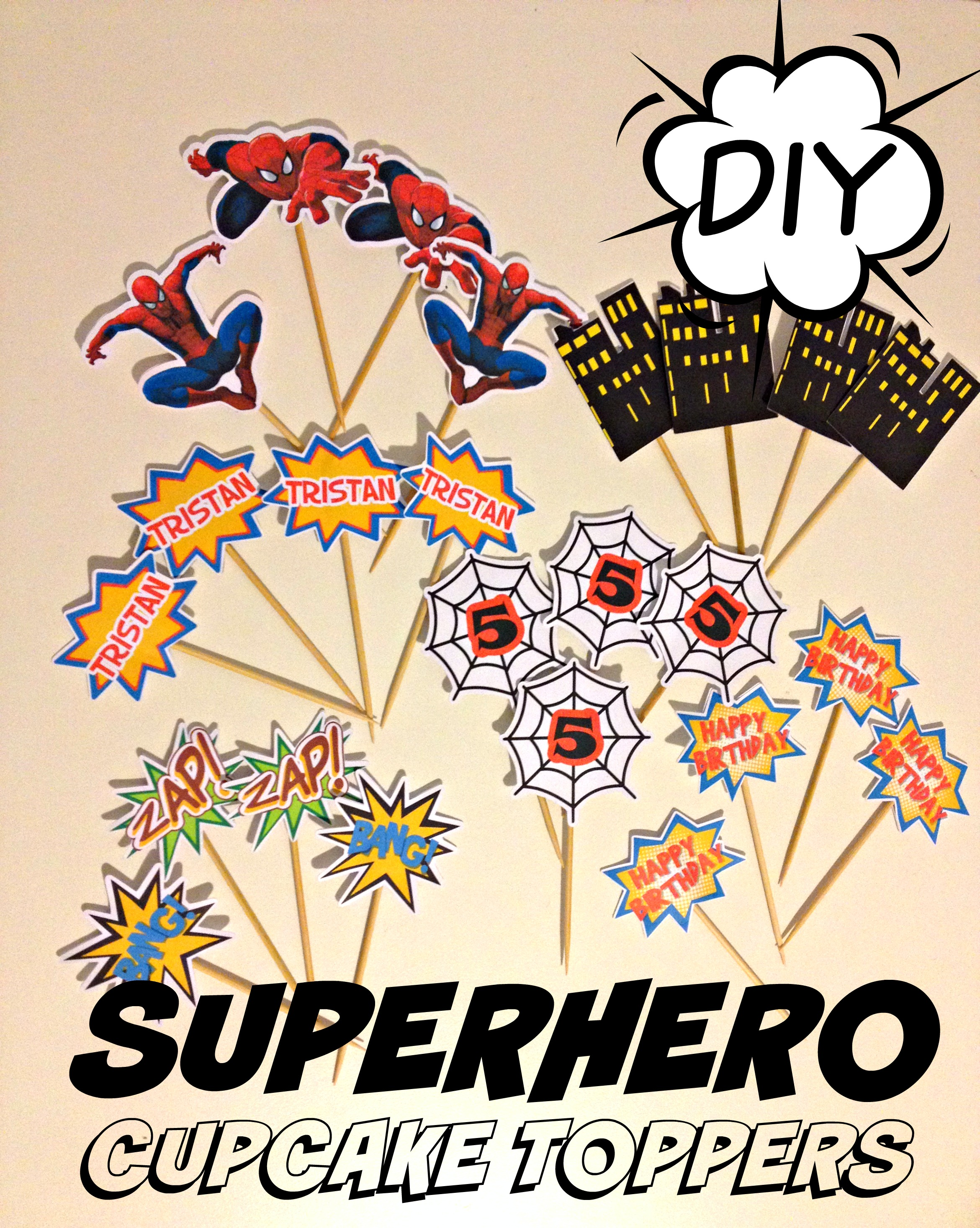 SPIDERMAN SUPERHERO DIY CUPCAKE TOPPERS HOW TO BLOG