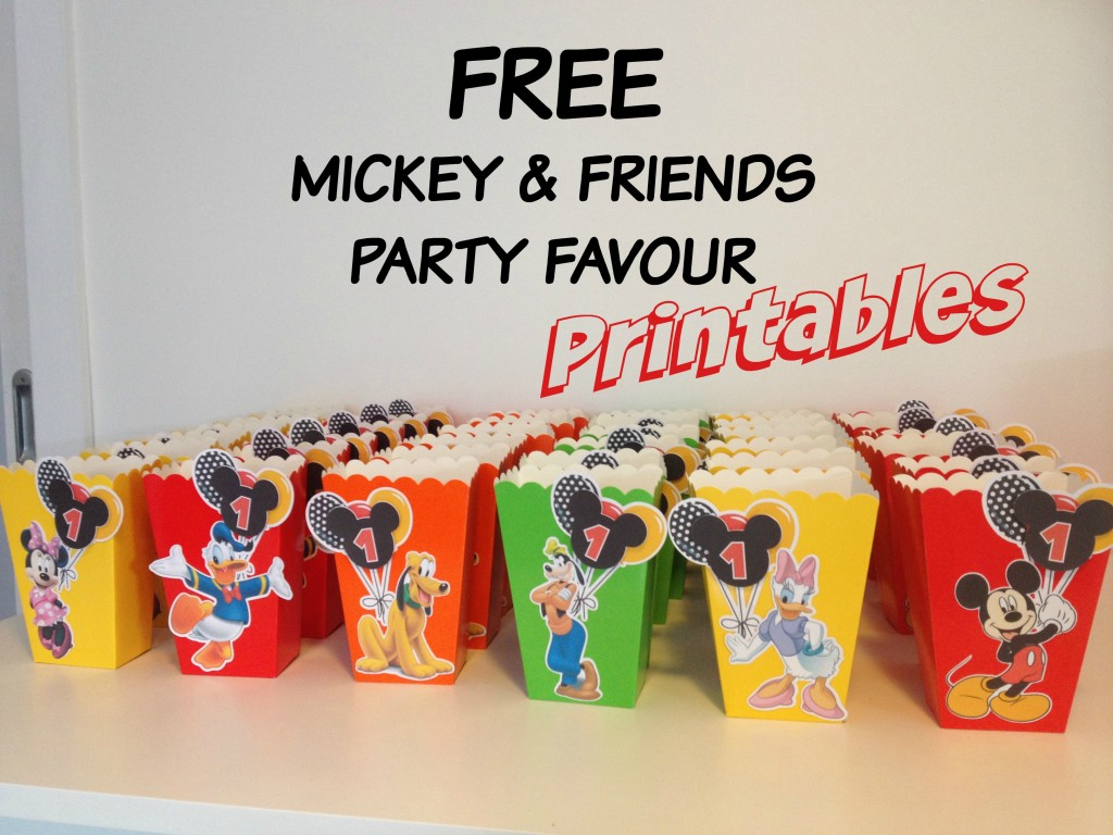 Mickey Mouse popcorn box printables party favor