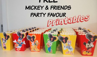 How to make Mickey Mouse inspired Popcorn Favor Boxes with Free printables