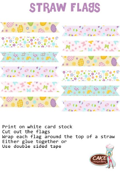Free easter Flag straw printables