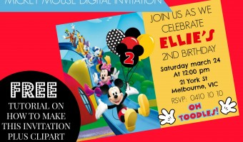How to make Mickey Mouse Clubhouse Digital Invitation Step by Step DIY plus video & free clipart