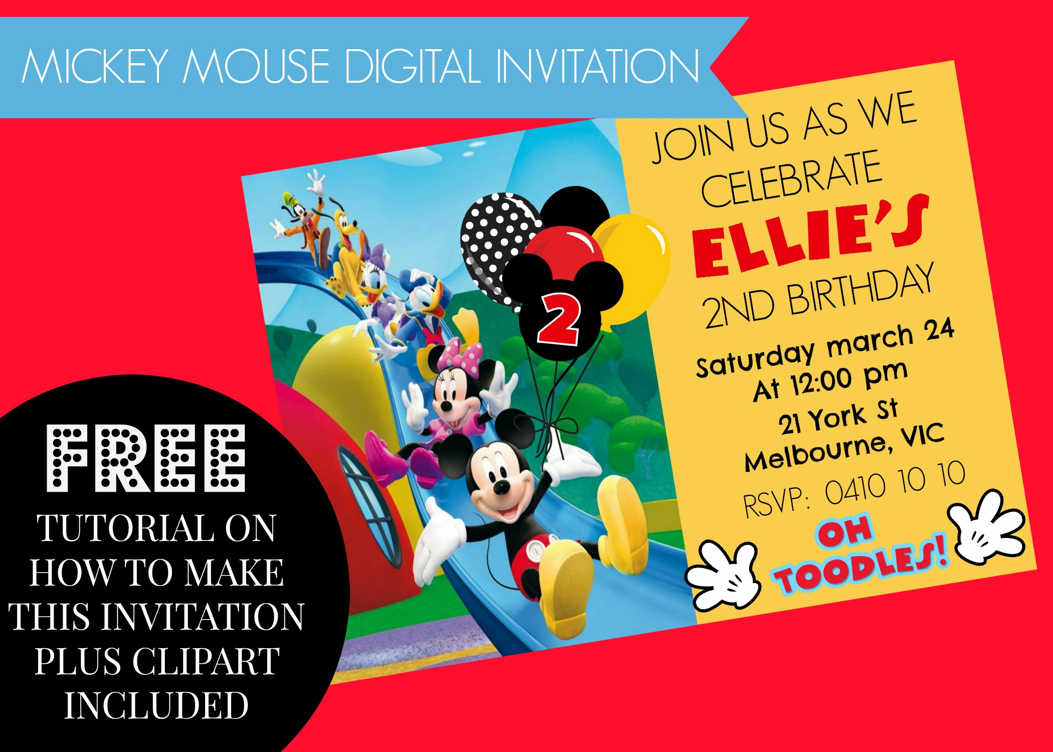 How to make mickey mouse clubhouse digital invitation step by step how to make mickey mouse clubhouse digital invitation step by step diy plus video free clipart filmwisefo