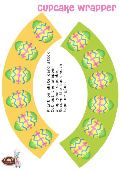 Free Easter cupcake wrapper printables