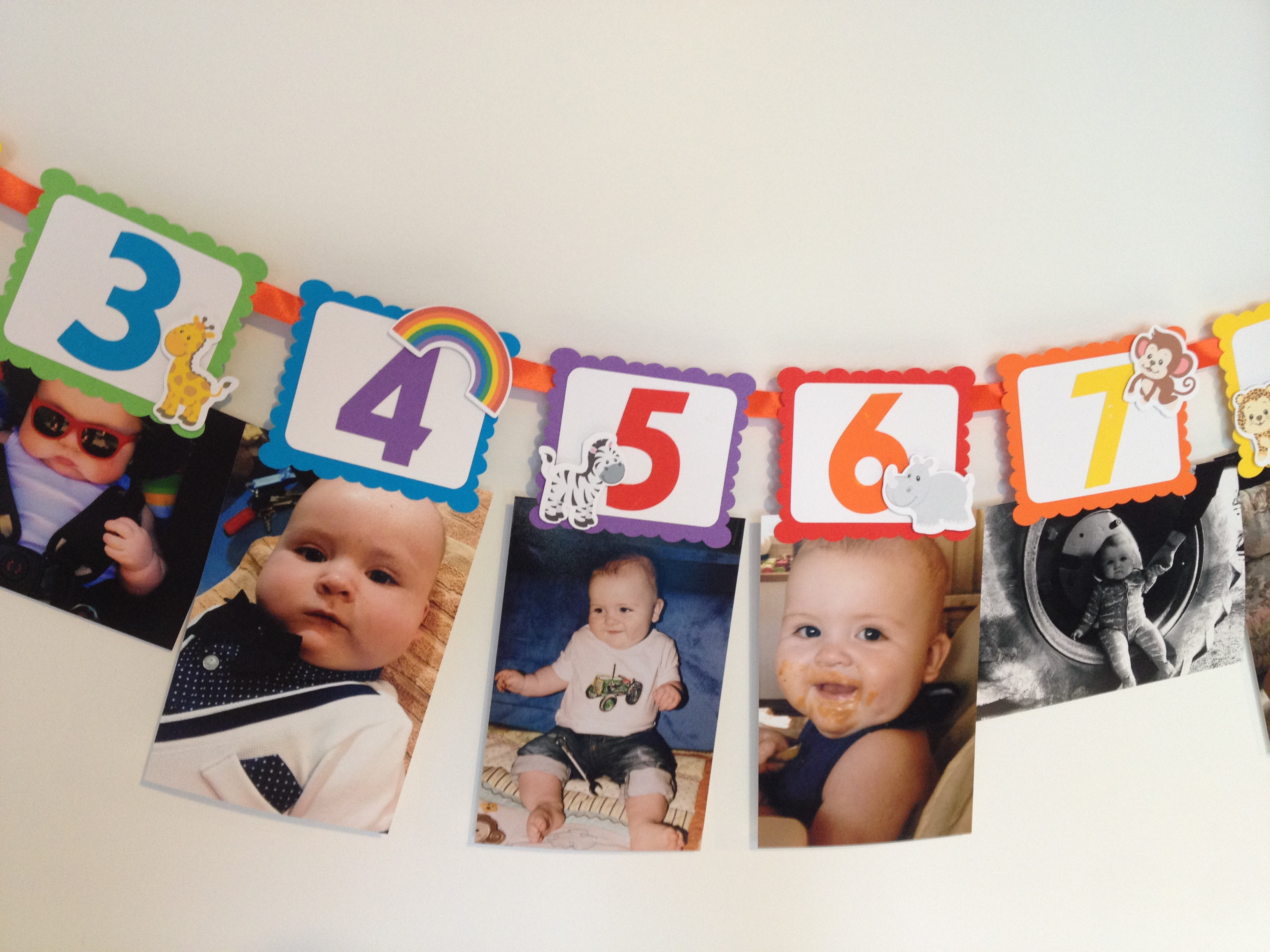 Noahs Ark first birthday photo banner