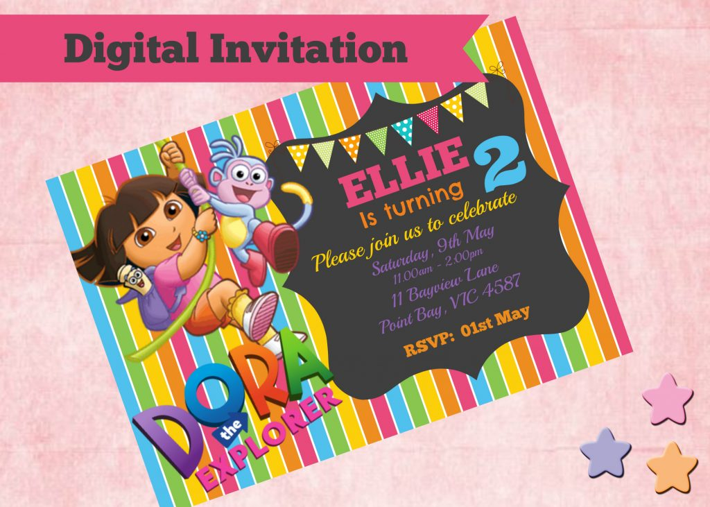 How to make Dora the Explorer Digital Invitations ...