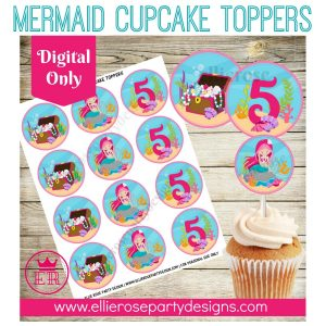 MERMAID CUPCAKE TOPPERS PRINTABLE
