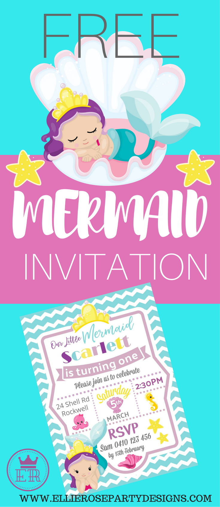 FREE MERMAID UNDER THE SEA INVITATION