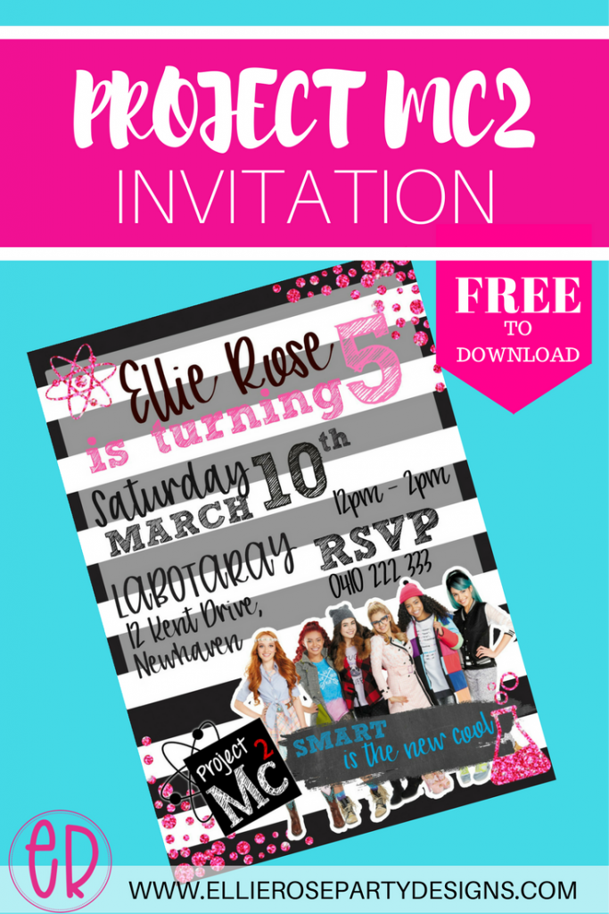 FREE PROJECT MC2 PARTY INVITATION  Free Template For Party Invitation