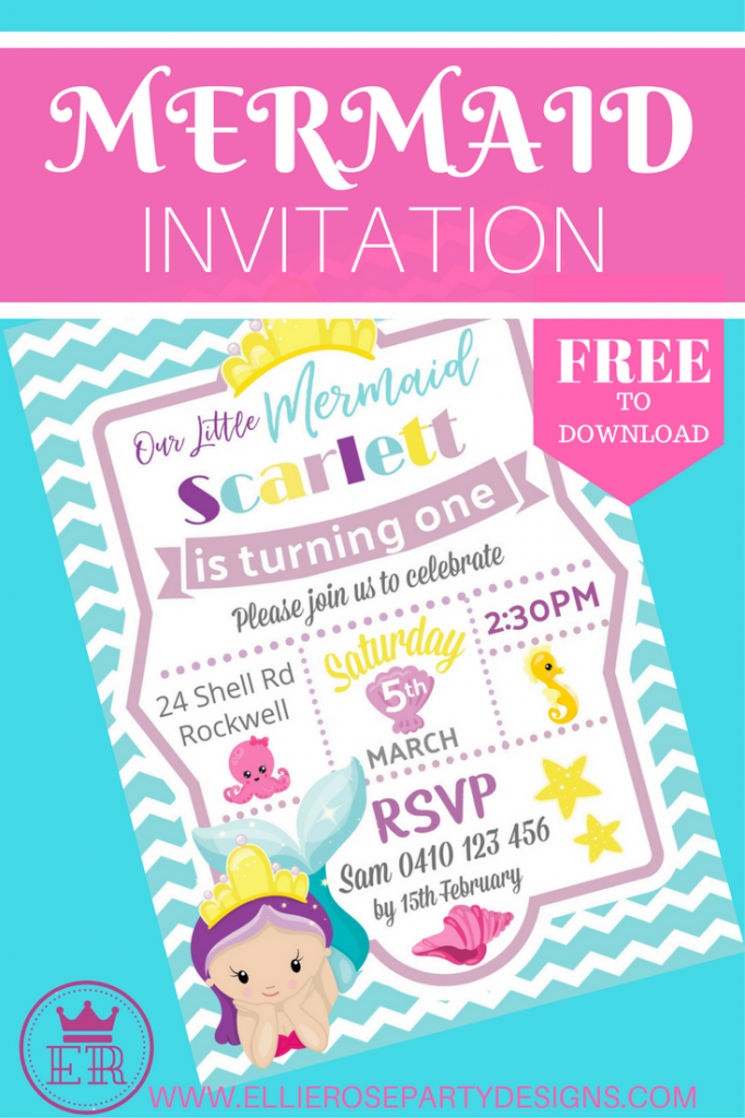 MERMAID UNDER THE SEA INVITATION FREE