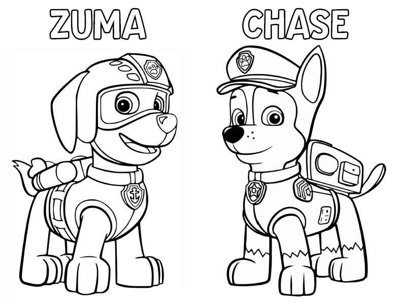 Paw patrol coloring activity book free to use for Chase coloring page