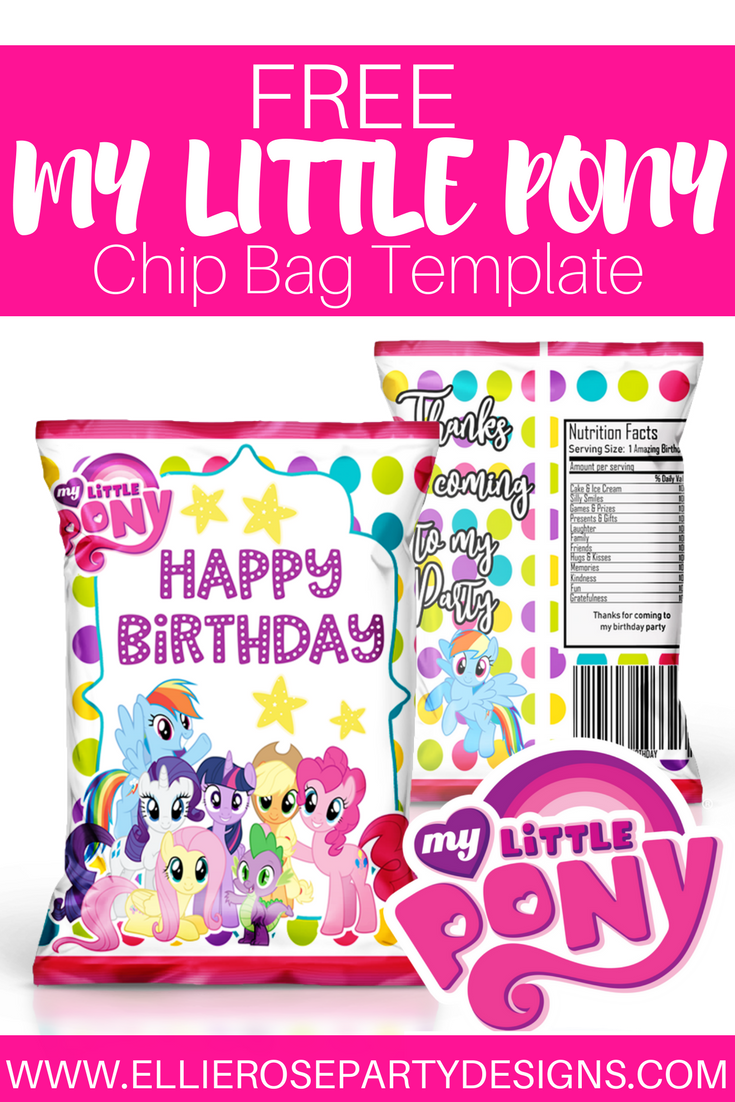 My Little Pony Chip Bag Favor Free Template