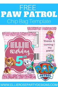 SKYE EVEREST PAW PATROL CHIP BAG TEMPLATE PRINTABLE