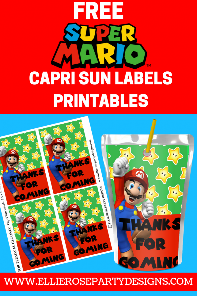 SUPER MARIO CAPRI SUN LABELS PRINTABLE