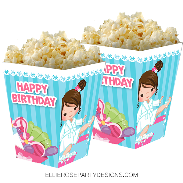 SPA PAMPER FOOD IDEAS POPCORN BOX party favour