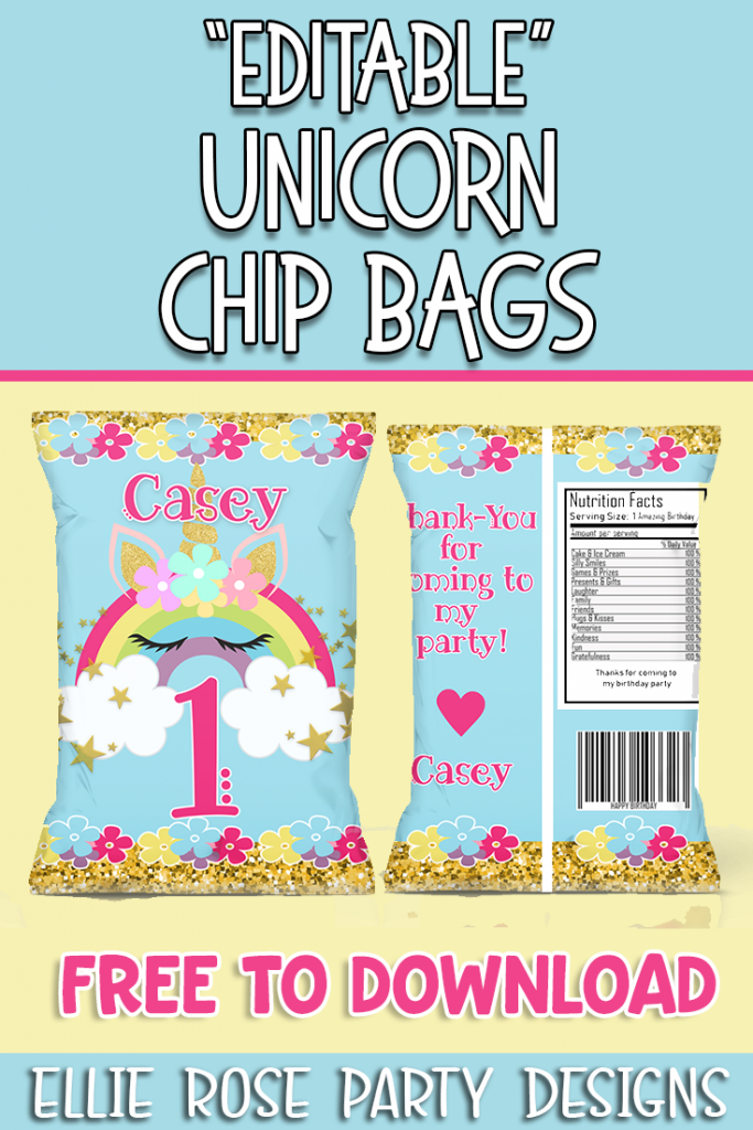 UNICORN RAINBOW EDITABLE CHIP BAGS
