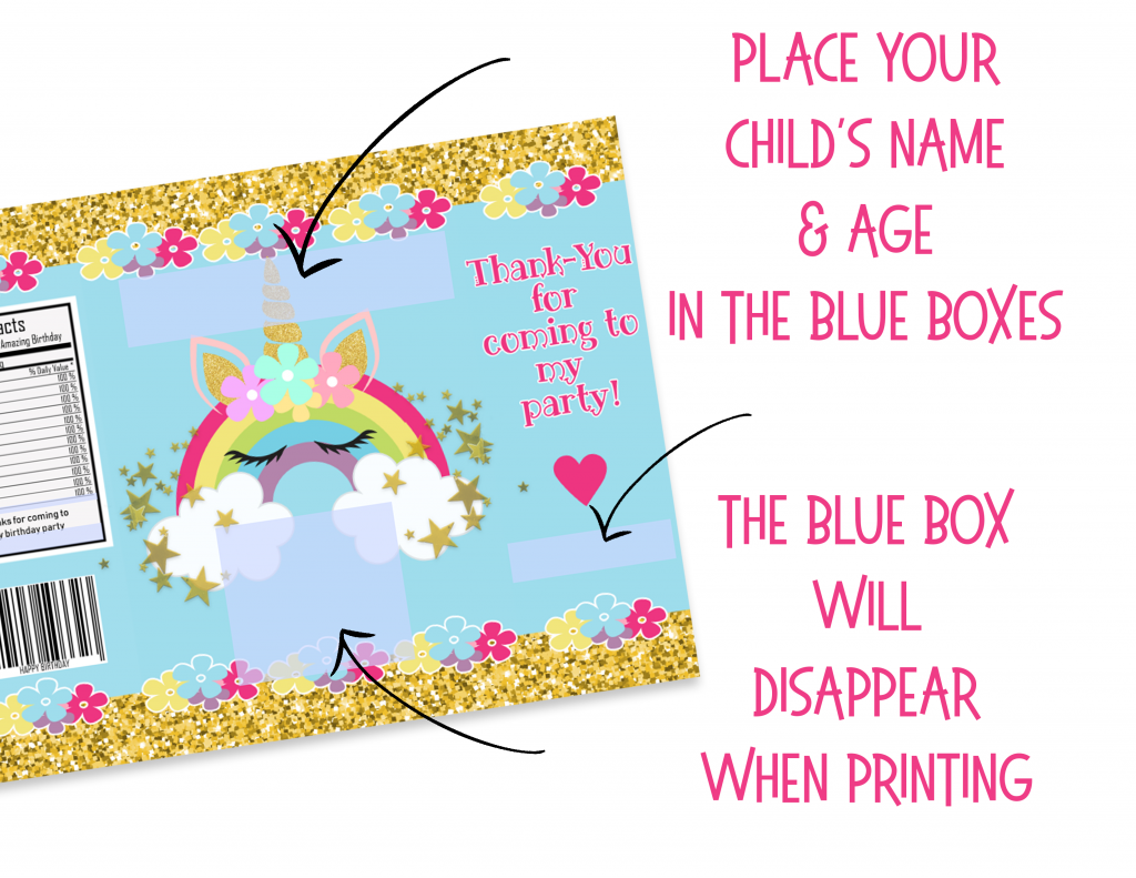 UNICORN RAINBOW EDITABLE CHIP BAGS Print at home