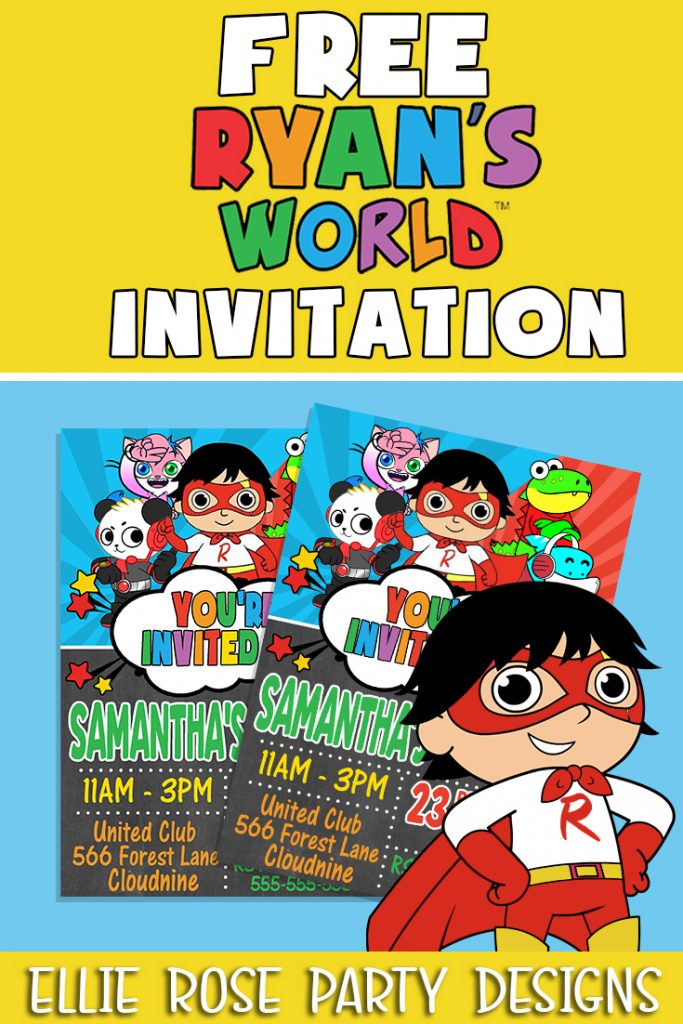 Free Ryan's world Invites